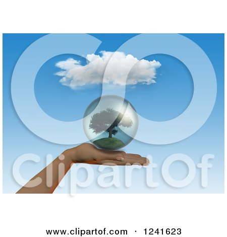 3d Human Hand Holding a Tree Globe Posters, Art Prints