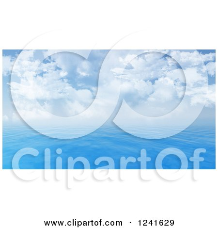 Clipart of a 3d Blue Seascape and Cloudy Sky - Royalty Free Illustration by KJ Pargeter