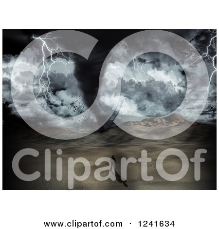 Clipart of a 3d Man Watching a Tornado Storm in a Desert - Royalty Free Illustration by KJ Pargeter