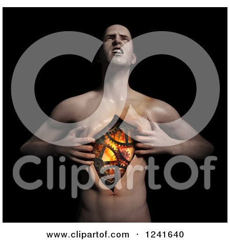 Clipart of a 3d Man Ripping Open His Chest and Revealing Gears - Royalty Free Illustration by Mopic