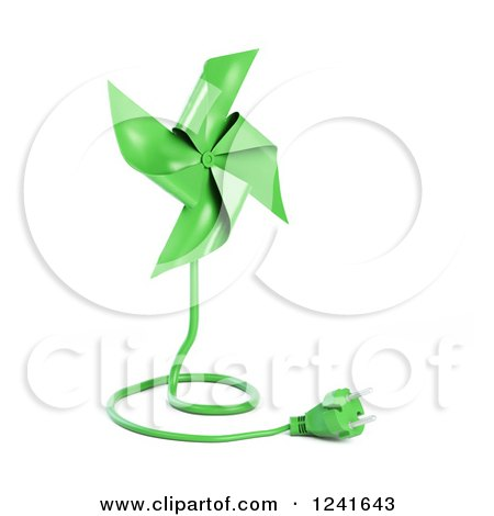 Clipart of a 3d Green Pinwheel with an Electric Plug - Royalty Free Illustration by Mopic