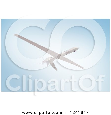 Clipart of a 3d Predator Drone Against a Blue Sky - Royalty Free Illustration by Mopic