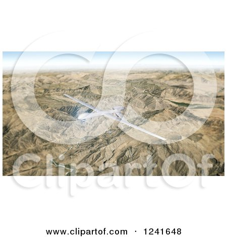 Clipart of a 3d Predator Drone Flying over Mountains - Royalty Free Illustration by Mopic