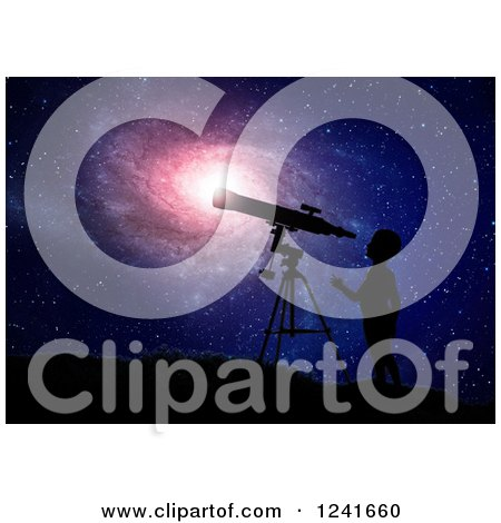 Clipart of a 3d Silhouetted Boy and Telescope over a Spiral Galaxy - Royalty Free Illustration by Mopic
