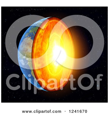 Clipart of a 3d Earth with Exposed Core - Royalty Free Illustration by Mopic