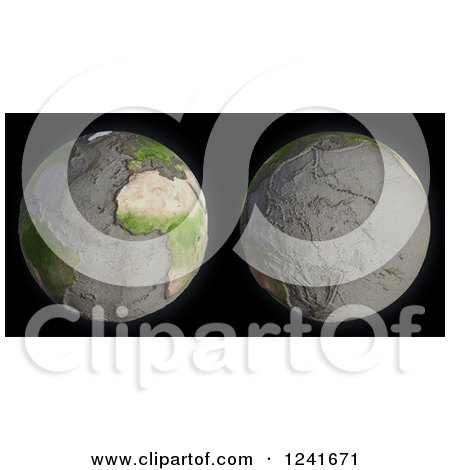 Clipart of a 3d Model of Earth's Drained Oceans - Royalty Free Illustration by Mopic