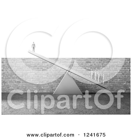 Clipart of a 3d Business Team Lifting a Single Man over a Brick Wall Obstacle - Royalty Free Illustration by Mopic
