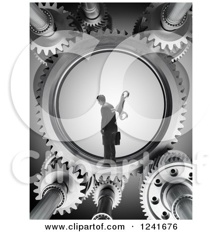 Clipart of a 3d Wind up Businessman in Gears - Royalty Free Illustration by Mopic