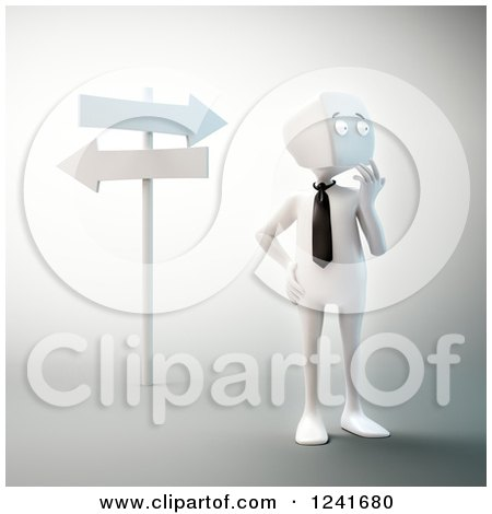Clipart of a 3d Block Head Businessman Thinking at Crossroads - Royalty Free Illustration by Mopic