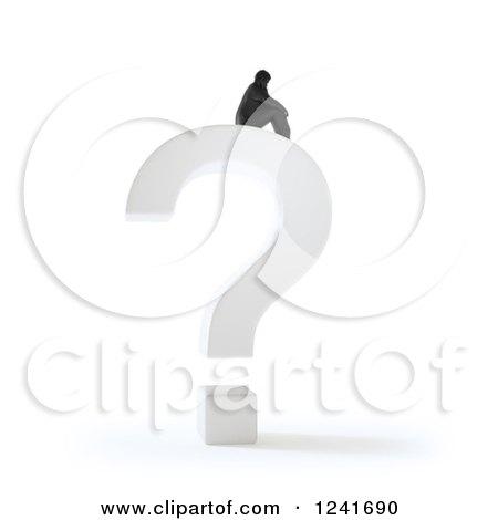 Clipart of a 3d Tiny Man Sittig Atop a Question Mark - Royalty Free Illustration by Mopic