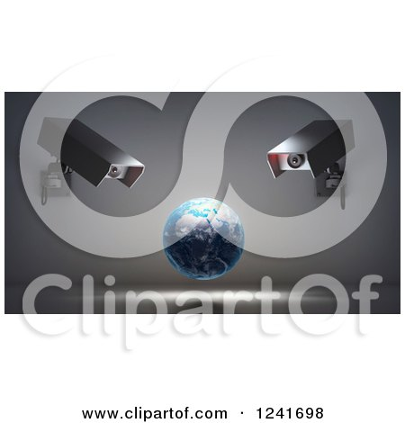 Clipart of a 3d Earth Globe Under Video Surveillance Cameras - Royalty Free Illustration by Mopic