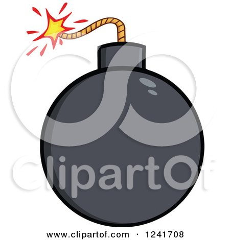 Clipart of a Lit Bomb - Royalty Free Vector Illustration by Hit Toon