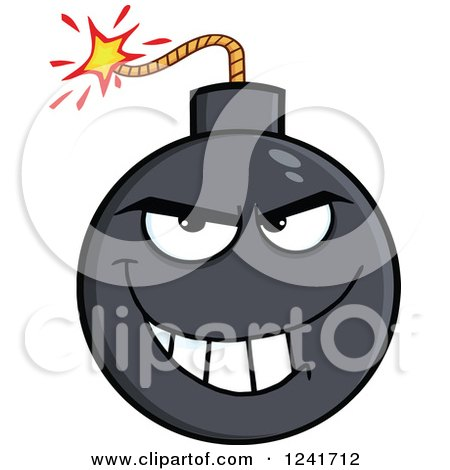 Clipart of a Grinning Mischievous Bomb Mascot - Royalty Free Vector Illustration by Hit Toon