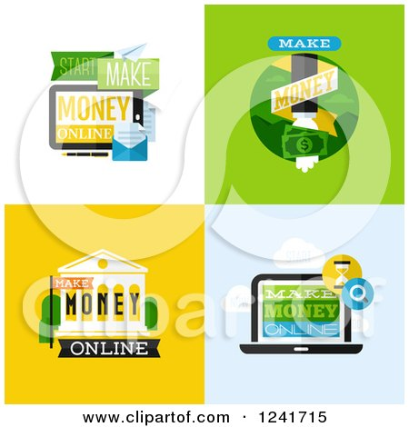 Clipart of Make Money Icons - Royalty Free Vector Illustration by elena