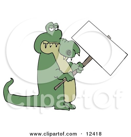 Green Alligator Holding a Blank Sign Clipart Illustration by djart