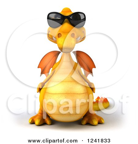 Clipart of a 3d Yellow Dragon Wearing Sunglasses - Royalty Free Illustration by Julos