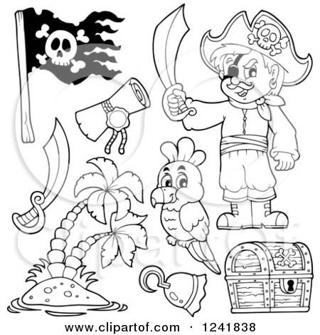 Clipart of a Black and White Male Pirate and Accessories - Royalty Free Vector Illustration by visekart