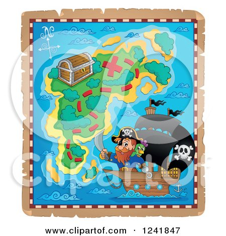Clipart of a Captain Pirate and Ship on a Map - Royalty Free Vector Illustration by visekart