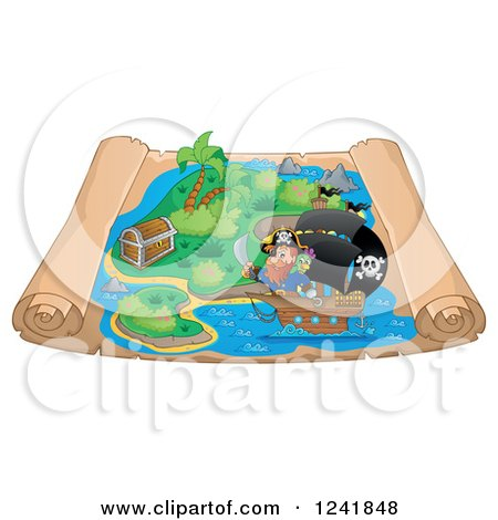 Clipart of a Pirate and Ship on a Scroll Treasure Map - Royalty Free Vector Illustration by visekart