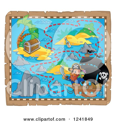 Clipart of a Captain Pirate and Ship on a Map 2 - Royalty Free Vector Illustration by visekart