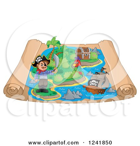 Clipart of a Pirate Parrot and Ship on a Scroll Treasure Map - Royalty Free Vector Illustration by visekart