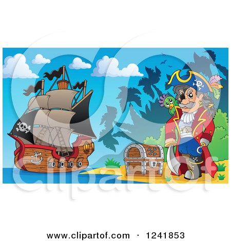 Clipart of a Pirate Captain with His Treasure on an Island Shore - Royalty Free Vector Illustration by visekart
