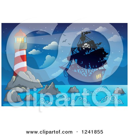 Clipart of a Pirate Ship in the Beacon Light of a Lighthouse - Royalty Free Vector Illustration by visekart