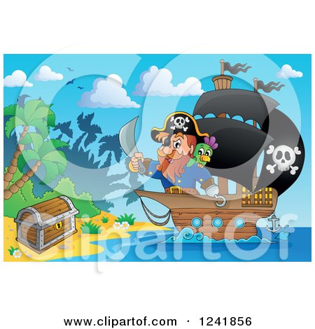 Clipart of a Pirate Captain Nearing a Treasure Chest on an Island - Royalty Free Vector Illustration by visekart
