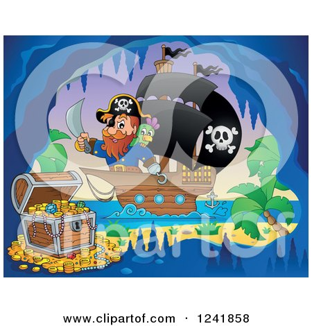Clipart of a Pirate Captain Nearing a Treasure Cave - Royalty Free Vector Illustration by visekart