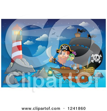 Clipart of a Pirate Captain and Parrot near a Lighthouse - Royalty Free Vector Illustration by visekart