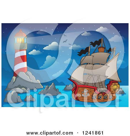 Clipart of a Pirate Ship near a Lighthouse - Royalty Free Vector Illustration by visekart