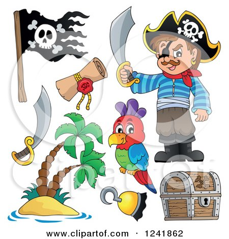 Clipart of a Male Pirate and Accessories - Royalty Free Vector Illustration by visekart