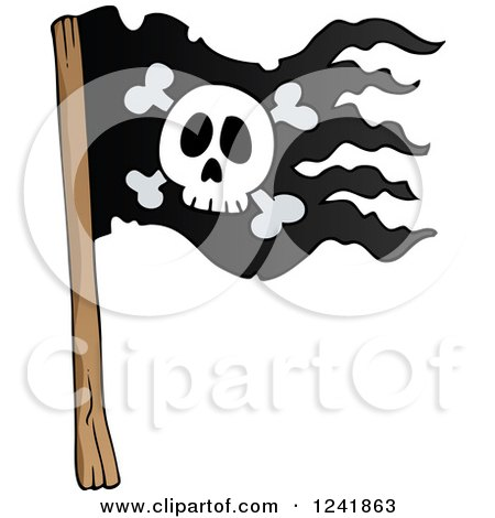 Royalty-Free (RF) Clipart Illustration of a White Skull Over ...