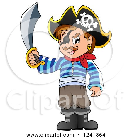 Clipart Of A Male Pirate Holding Up A Sword Royalty Free Vector Illustration