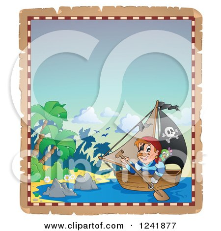 Clipart of a Pirate Rowing a Boat to an Island - Royalty Free Vector Illustration by visekart