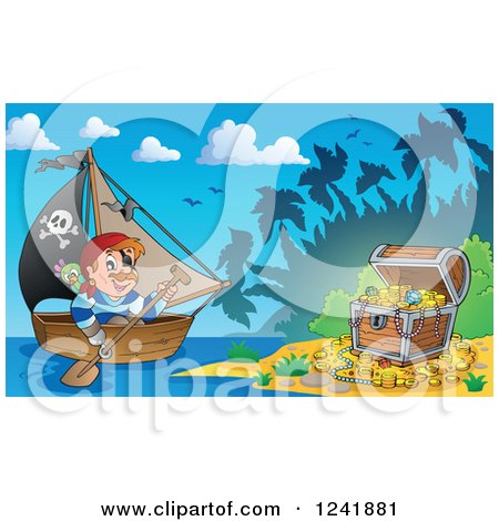 Clipart of a Pirate Captain Rowing a Boat to a Treasure Island - Royalty Free Vector Illustration by visekart
