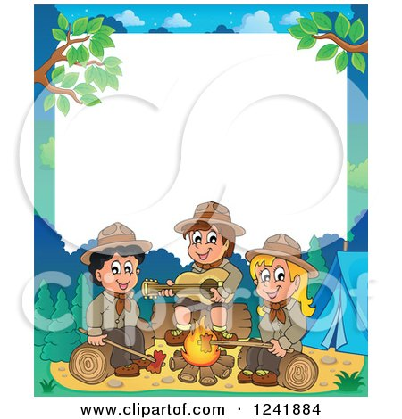 Clipart of a Boy and Girl Scouts Singing Around a Camp Fire with White Text Space - Royalty Free Vector Illustration by visekart