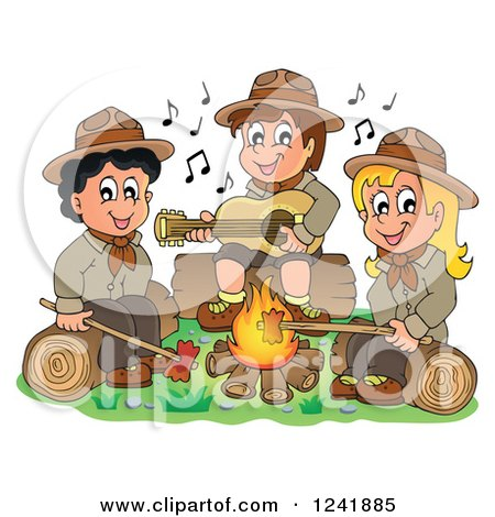 Clipart of a Boy and Girl Scouts Singing Around a Camp Fire - Royalty Free Vector Illustration by visekart