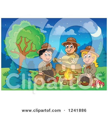 Clipart of a Boy and Girl Scouts Singing Around a Camp Fire at Night - Royalty Free Vector Illustration by visekart