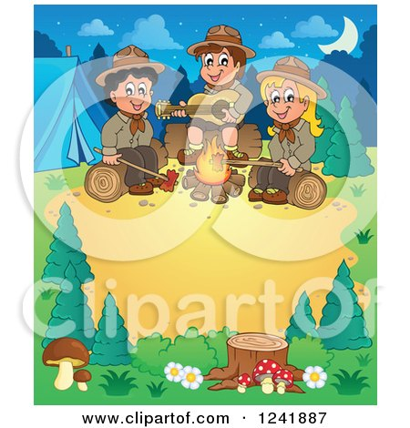 Clipart of a Boy and Girl Scouts Singing Around a Camp Fire with Text Space - Royalty Free Vector Illustration by visekart