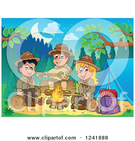 Clipart of a Boy and Girl Scouts Singing Around a Camp Fire at Dusk - Royalty Free Vector Illustration by visekart
