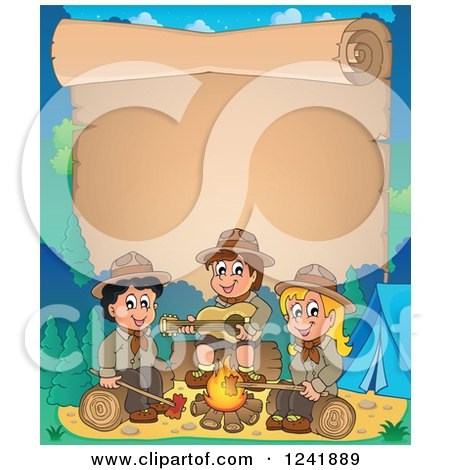 Clipart of a Boy and Girl Scouts Singing Around a Camp Fire with Scroll Text Space - Royalty Free Vector Illustration by visekart