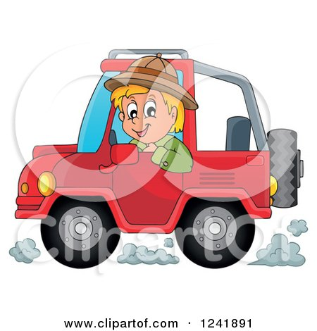 Clipart of a Happy Safari Man Driving a Jeep - Royalty Free Vector Illustration by visekart