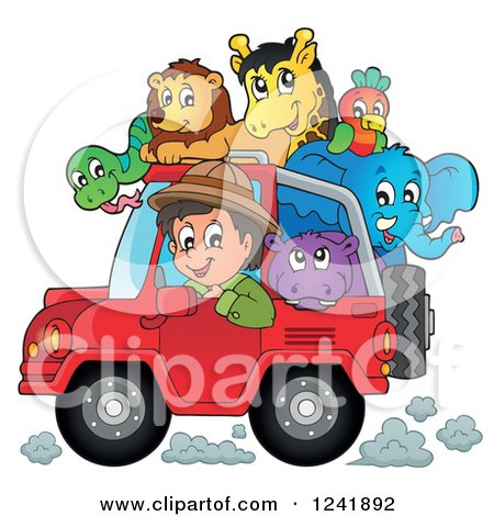 Clipart of a Happy Safari Man Driving a Jeep Full of Animals - Royalty Free Vector Illustration by visekart