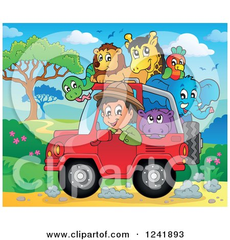 Clipart of a Happy Man Driving a Jeep Full of Safari Animals - Royalty Free Vector Illustration by visekart