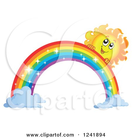 Clipart of a Happy Sun and Sparkle Rainbow - Royalty Free Vector Illustration by visekart