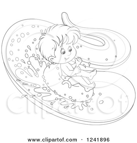 Clipart of a Black and White Happy Boy Tubing down a Waterslide - Royalty Free Vector Illustration by Alex Bannykh