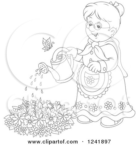 Clipart of a Black and White Happy Senior Woman Watering a Garden - Royalty Free Vector Illustration by Alex Bannykh