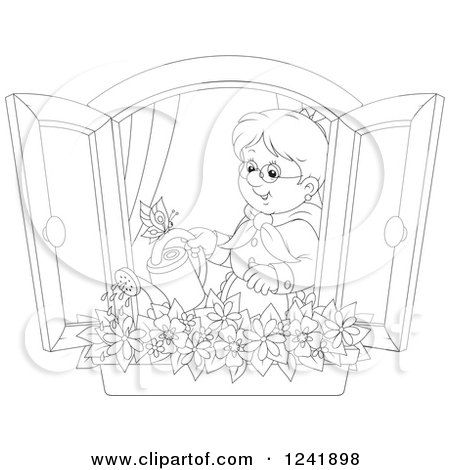 Clipart of a Black and White Happy Senior Woman Watering a Window Planter Garden - Royalty Free Vector Illustration by Alex Bannykh