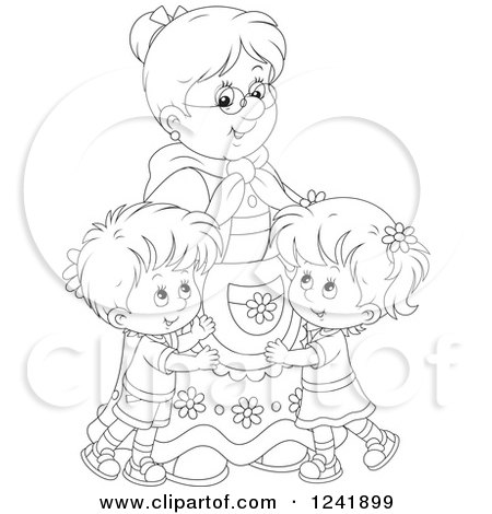 Clipart of Black and White Happy Grandchildren Hugging Their Granny - Royalty Free Vector Illustration by Alex Bannykh